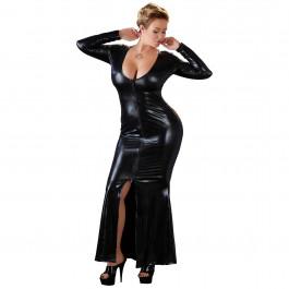 Cottelli Plus Size Pitkä Wetlook-mekko Vetoketjulla