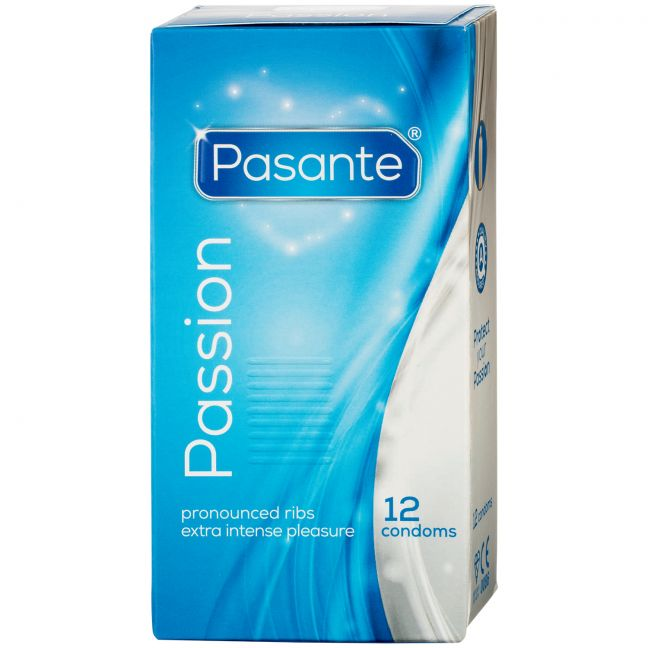 Pasante Passion Ribbed Juomukondomit 12 kpl