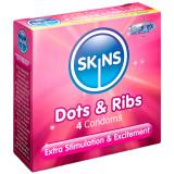 Skins Dots & Ribs Kondomit 4 kpl