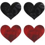 Peekaboos Nipple Stickers Punaiset ja Mustat Sydämet 2 Paria