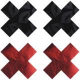 Peekaboos Nipple Stickers Punaiset ja Mustat Ristit 2 paria