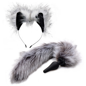 Tailz Grey Wolf Tail Anustappi ja Korvat