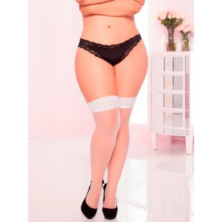 Seven til Midnight Plus Size Thigh Highs Valkoiset Sukat