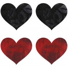 Peekaboos Nipple Stickers Punaiset ja Mustat Sydämet 2 Paria  1