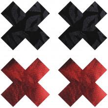 Peekaboos Nipple Stickers Punaiset ja Mustat Ristit 2 paria  1