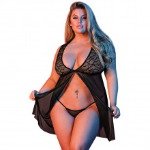 Magic Silk Plus Size Fly Away Pitsinen Babydoll Setti