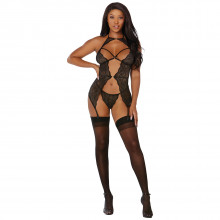 Dreamgirl Scalloped Lace Suspender Body Product model 1