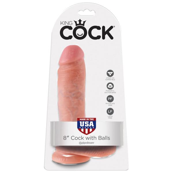 King Cock Realistisk Dildo Med Kugler 20 cm