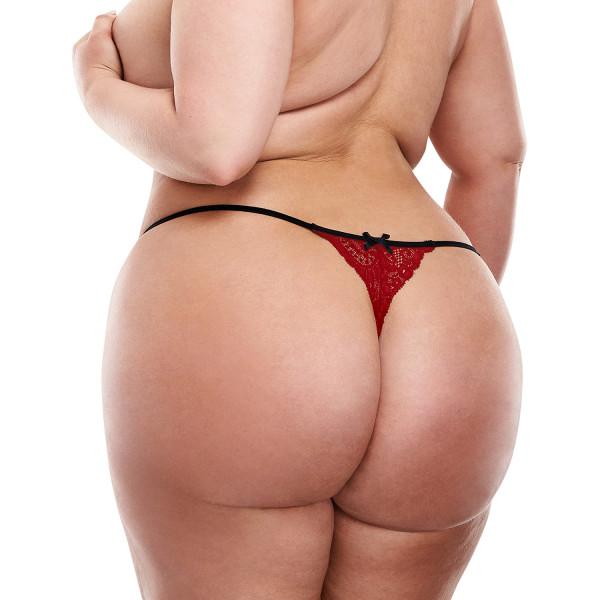Baci Plus Size Punaiset Haarattomat Pitsistringit  2