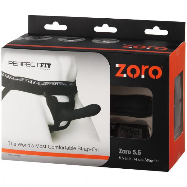Perfect Fit Zoro Strap-on Harness Mustalla Dildolla kuva tuotepakkauksesta 90