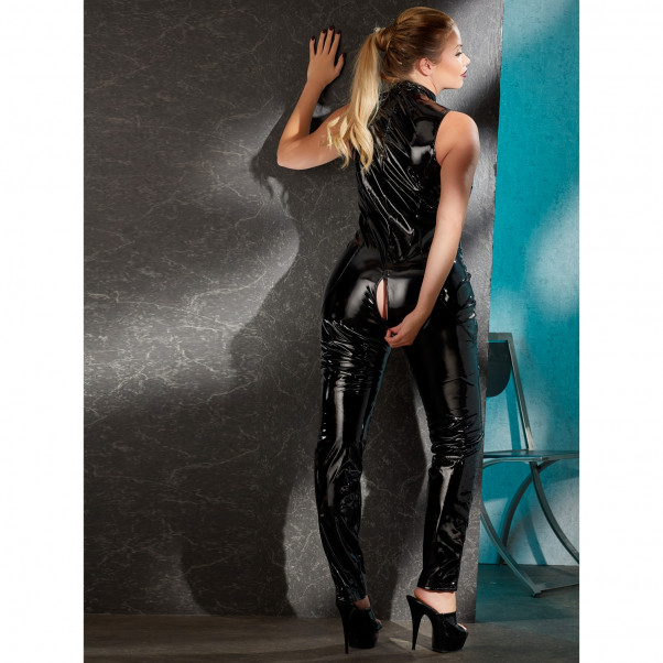 Black Level Plus Size PVC Catsuit Kauluksella