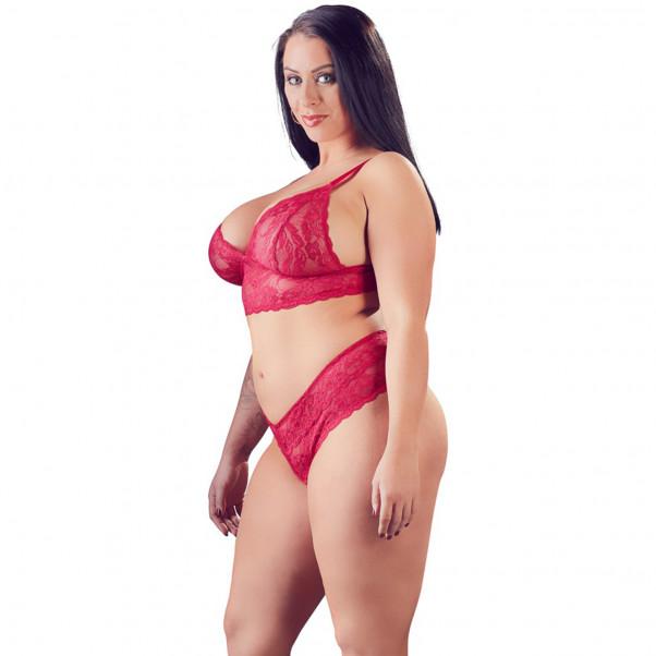 Cottelli Plus Size Punainen Pitsialusasusetti  2
